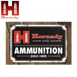 Hornady Ammo Vintage Tin Sign.