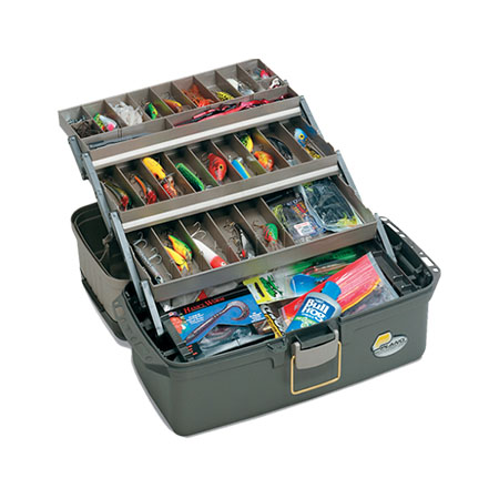 Plano guide series large 3 tray tackle box elk 39 s for Large tackle boxes for fishing