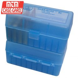 MTM Case Gard 50 RD Hinged Ammo Box 30/06, 270 WIN, 25/06 – Clear Blue.
