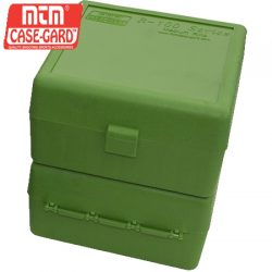 MTM Case Gard 100 RD Hinged Medium Rifle Ammo Box 22-25, 308W, 243 – Green.
