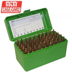 MTM Case Gard 50 RD Hinged Ammo Box 17, 222 MAG, 223, 6×47 – Green.